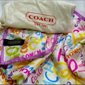 Authentic Coach silk bandana scarf/dust bag